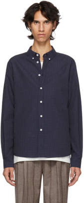 Editions M.R Blue and Black Check Oxford Shirt