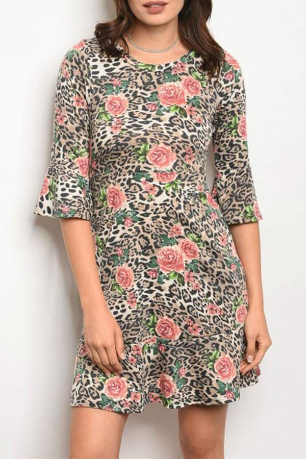 Cheetah Floral Dress