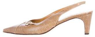 Salvatore Ferragamo Lizard Slingback Pumps