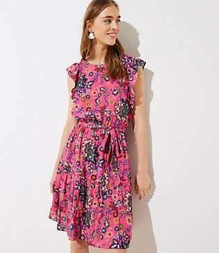 LOFT Petite Mixed Floral Tie Flutter Dress