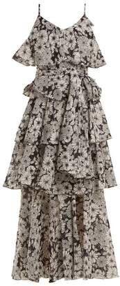 Lisa Marie Fernandez - Imaan Ruffled Floral Print Cotton Dress - Womens - Black White