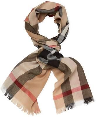 "Burberry Women's Lightweight Check Wool & Cashmere Long Scarf, 78"" x 18"""