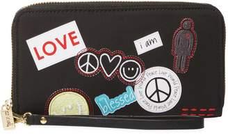 Peace Love World Women's Symbols Zip Around Wristlet Wallet