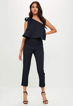 Missguided Navy One Shoulder Bow Romper