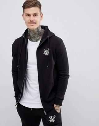 SikSilk zip through hoodie in black