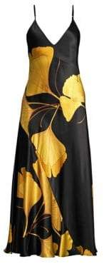 Natori Josie Gingko Floral Silk Nightgown