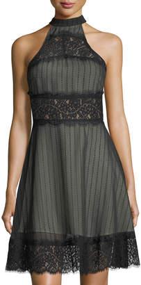 Keepsake Starstruck Mesh & Lace Halter-Neck Dress