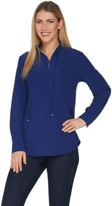 Denim & Co. Woven Half-Zip Long Sleeve Pullover Shirt