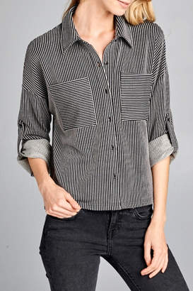 Paper Crane Long Sleeve Striped Shirt