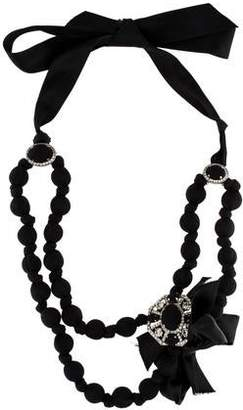Lanvin Crystal & Wrapped Bead Collar Necklace