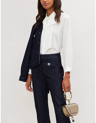Claudie Pierlot Check dot-embroidered chiffon shirt