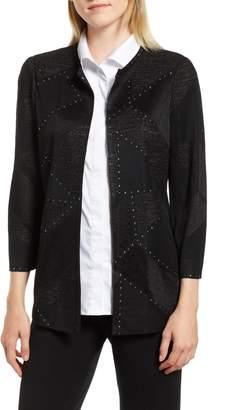 Ming Wang Studded Shimmer Knit Jacket