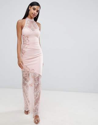 Lipsy high neck lace maxi dress