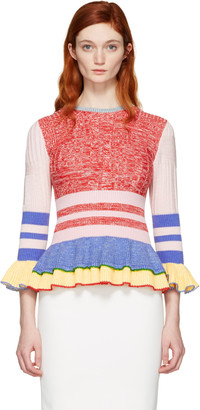 Alexander McQueen Multicolor Peplum Sweater $995 thestylecure.com