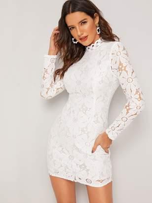 b90ccdba01 Shein Guipure Lace Zipper Back Bodycon Dress