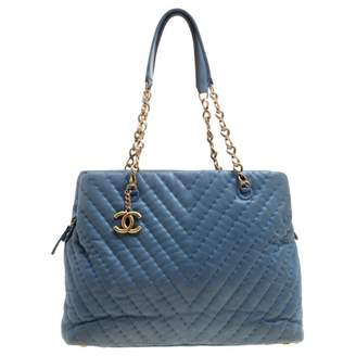 0fdf7a9e29f5 Chanel Petite Shopping Tote Blue Leather Handbag