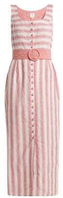 GÃ1⁄4l hÃ1⁄4rgel GAl HArgel - Belted Striped Linen Blend Dress - Womens - Pink Stripe