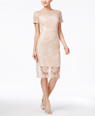 JAX Sequined Lace Illusion Sheath Dress $158 thestylecure.com