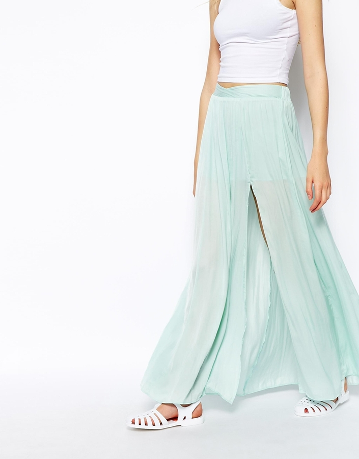 Pull&Bear Split Side Maxi Skirt