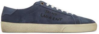 Saint Laurent Navy Suede Court Classic SL/06 Sneakers