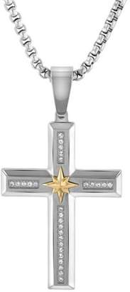 Unbranded Mens Stainless Steel and 10K Yellow Gold 1/4ctw Diamond Cross Pendant