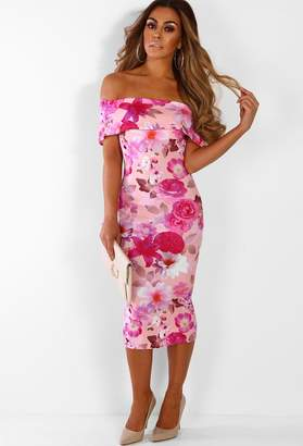 1be07db875a82 Pink Boutique Pure Infatuation Pink Floral Bardot Bodycon Midi Dress