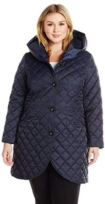 Lark & Ro Women's Plus Size Quilted Shawl Collar Tulip Jacket with Hood
