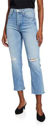 Mother The Tomcat Distressed Straight-Leg Jeans