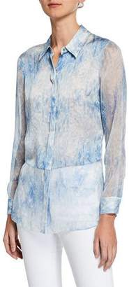 Elie Tahari Nailah Tie-Dye Button-Down Long-Sleeve Silk Blouse