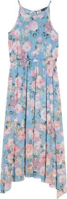 Ava & Yelly Rose Print Mesh Maxi Dress