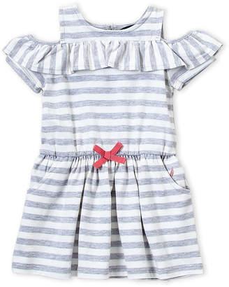 Nautica Toddler Girls) Grey Stripe Cold Shoulder Dress