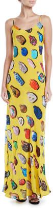 Libertine Bottle-Print Spaghetti-Strap Silk Slip Dress