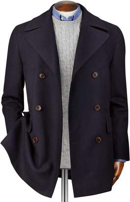 Charles Tyrwhitt Navy Wool Cashmere Pea Wool/cashmere Coat Size 42