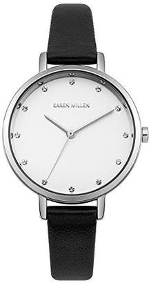 Karen Millen Women's Quartz Metal and Leather Casual Watch