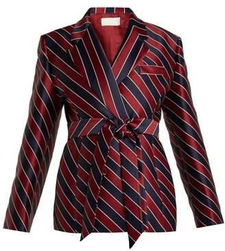 Sara Battaglia - Striped Tie Waist Double Breasted Satin Blazer - Womens - Navy Multi