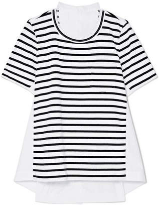 Sacai Dixie Cotton-poplin And Striped Jersey Top - White