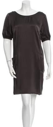 Fendi Silk Mini Dress Grey Silk Mini Dress