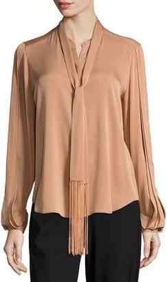 Kobi Halperin Tara Fringed Tie-Neck Stretch-Silk Blouse, Copper $328 thestylecure.com
