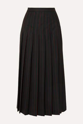 McQ Paneled Pleated Pinstriped Grain De Poudre And Wool Skirt - Black