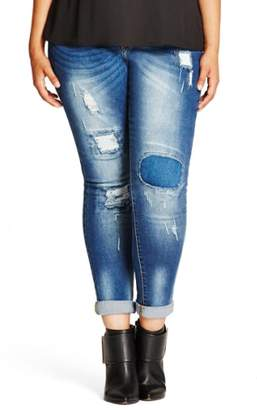 City Chic Patched Up Distressed Skinny Jeans