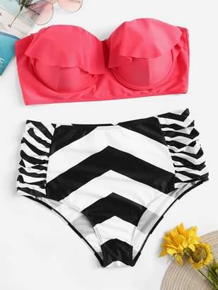 SheinShein Plus Ruffle Underwire Bandeau With Chevron Ruched Bikini