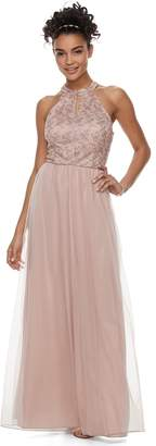 Speechless Juniors' Halter Cutout Glitter Prom Dress