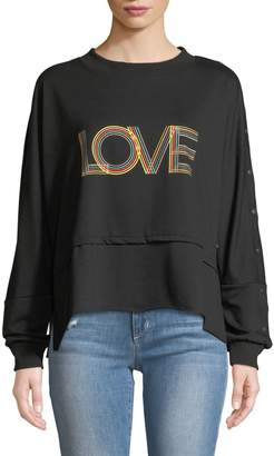 Peace Love World Loli Love Snap-Side Crewneck Sweatshirt