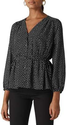 Whistles Helena Confetti Heart Print Tie Top