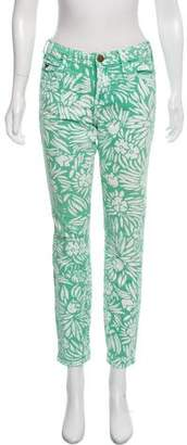 Current/Elliott Mid-Rise Floral Print Skinny Jeans