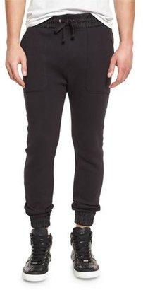 Helmut Lang Curved-Leg Track Pants, Black $345 thestylecure.com