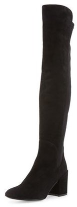 Stuart Weitzman Halftime Suede Over-the-Knee Boot, Black $675 thestylecure.com