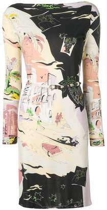 Emilio Pucci boat neck belted printed shift