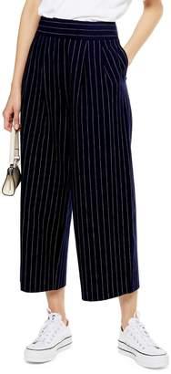 Topshop Pinstripe Crop Wide Leg Pants