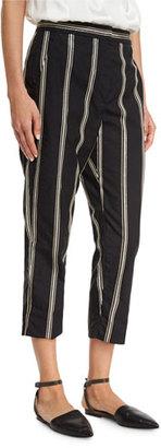 Brunello Cucinelli Two-Tone Paillette-Stripe Cropped Pants, Black $2,095 thestylecure.com